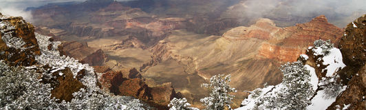 Panorama Of Grand Canyon with Snow Stock Photography