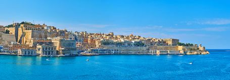 Panorama of Grand Harbour and Valletta fortifications, Malta royalty free stock image