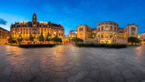Panorama of the Grand Hotel and Parliament of Norway in the Even Stock Photography
