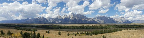 Panorama of the Grand Tetons royalty free stock images