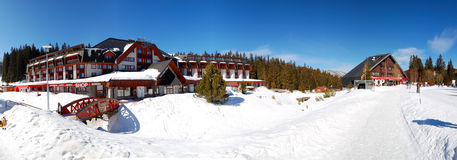 Panorama of Grand wellness hotel in Jasna Low Tatras Royalty Free Stock Images