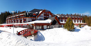 Panorama of Grand wellness hotel in Jasna Low Tatras Stock Images