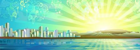 Panorama grande da cidade ilustração stock
