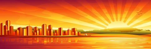 Panorama grande de la puesta del sol de la ciudad ilustración del vector