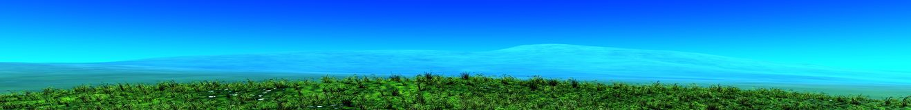 Panorama of grass on the hill, the green hills Stock Photography