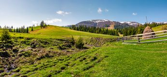 Panorama of grassy meadow of rural area. Gorgeous springtime landscape with forest and mountain ridge with snowy tops. haystack behind the fence near the brook Royalty Free Stock Images