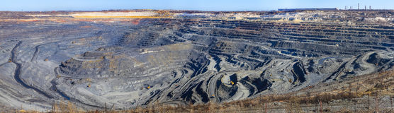 Panorama of a great career iron ore mining Stock Photos