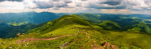 Panorama of great Carpathian water dividing ridge. Beautiful summer landscape view of Lviv and TransCarpathia regions of Ukraine from mountain Pikui stock photography