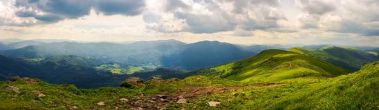 Panorama of great Carpathian water dividing ridge. Beautiful summer landscape Runa and Gostra mountains in the distance stock photo