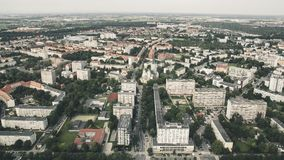 Panorama from great height to residential buildings and roads Wroclaw. Photo in retro style royalty free stock photo