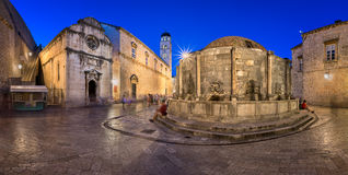 Panorama of Great Onofrio Fountain and Holy Saviour Church in th. E Evening, Dubrovnik, Dalmatia, Croatia Stock Photo