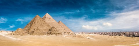 The Great Pyramids of Giza. Panorama of the Great Pyramids of Giza, Egypt royalty free stock photos