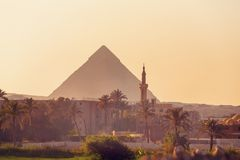 Panorama of the Great Pyramids of Giza, Egypt royalty free stock image