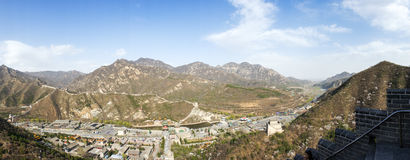 Panorama of Great wall of China Royalty Free Stock Image