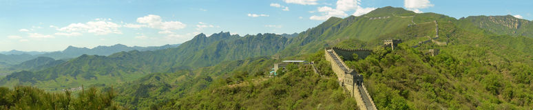 Panorama of the great wall of China Stock Photography