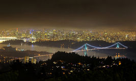 Panorama of Greater Vancouver at a foggy night Royalty Free Stock Photo