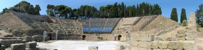Panorama greco del teatro di Tindari's - Messina - Sicilia - Italia fotografia stock libera da diritti