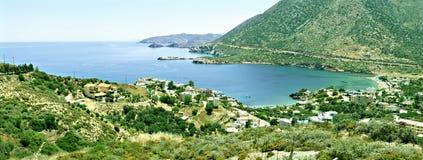 Panorama greco della montagna dell'isola del Crete Fotografia Stock