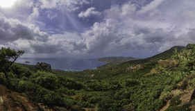 Panorama of Greece Rhodes mountains Stock Images