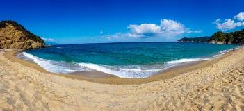 Greek Beach Panorama. Panorama of greek aegeean beach - travel vacation background. September 2018 Skiathos stock image