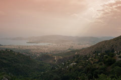 Panorama of the Greek city of Volos at sunset. Volos Greece. View from the mountain on the Volos Royalty Free Stock Photography