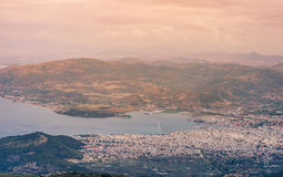 Panorama of the Greek city of Volos at sunset. Volos Greece. View from the mountain on the Volos Royalty Free Stock Photos