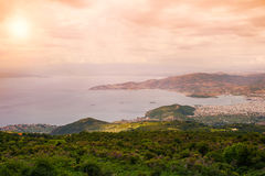Panorama of the Greek city of Volos at sunset. Volos Greece. View from the mountain on the Volos Stock Image