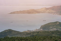 Panorama of the Greek city of Volos at sunset. Volos Greece. View from the mountain on the Volos Stock Photos