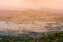 Panorama of the Greek city of Volos at sunset. Volos Greece. View from the mountain on the Volos Stock Photo