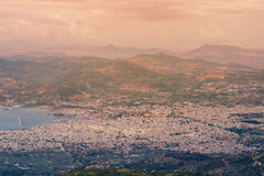 Panorama of the Greek city of Volos at sunset. Volos Greece. View from the mountain on the Volos Stock Photography