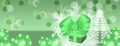 Panorama Green background with Christmas present. Panorama christmas  celebration background with green present and tree and baubles Stock Photos