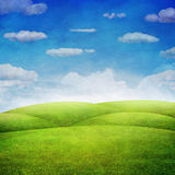 Panorama of green field with  cloudy sky background Royalty Free Stock Images