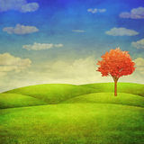 Panorama of green field with a tree on cloudy sky background Stock Photo