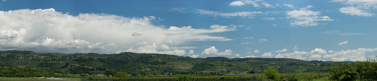 Panorama of green hill Stock Images