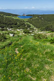 Panorama with Green hills around Bezbog lake, Pirin Mountain Royalty Free Stock Image