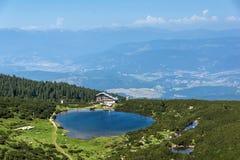 Panorama with Green hills around Bezbog lake, Pirin Mountain Stock Image