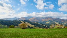 Panorama of green hills and trees in Carpathian mountains in the summer or autumn. Mountains landscape background. Nature beauty stock photos
