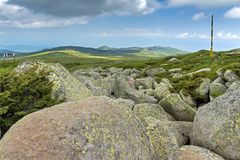 Panorama with green hills of Vitosha Mountain near Cherni Vrah Peak, Sofia City Region, Bulgaria Royalty Free Stock Photography