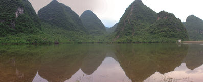 Panorama with green hills in Yangshuo, China Stock Images