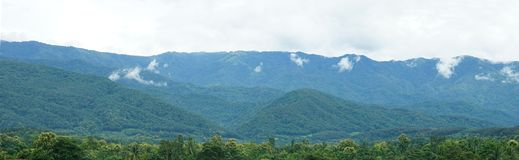 Panorama of green mountain range with soft white clouds Stock Photography