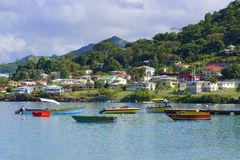 Panorama of Grenada, Caribbean. Bay with the boats in Grenada, Caribbean royalty free stock images