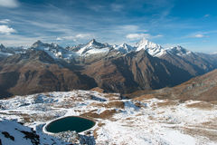 Panorama from Gronergrat. With Obergabelhorn, Zinalrothorn and Weisshorn mountain peaks, Zermatt, Switzerland stock photo