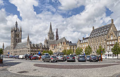 Panorama of Grote Markt square in Ypres Royalty Free Stock Photography