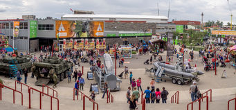Panorama of the grounds at the Calgary Stampede. CALGARY, CANADA - JULY 9: Panorama of the grounds at the Calgary Stampede on July 9, 2016 in Calgary, Alberta Royalty Free Stock Photography