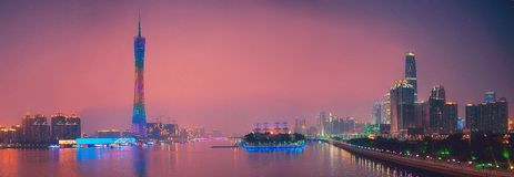 Panorama of Guangzhou Canton China. Night view of Canton Tower on the Pearl River. Guangzhou China Panorama stock photography