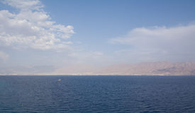 Panorama of Gulf  Aqaba rocky coast from Red sea Royalty Free Stock Photos