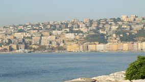 Panorama of gulf and architecture of Naples, beautiful landscape, sequence. Stock footage stock video
