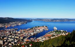 Panorama of gulf, City of Bergen, Norway. This is a full view from Bergen hill, with blue see, old town and beautiful landscape Royalty Free Stock Photos
