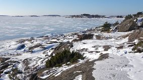 Panorama of the Gulf of Finland, frosty february day. The Surroundings of Hanko, Finland. Panorama of the Gulf of Finland, frosty february day. The Surroundings stock footage