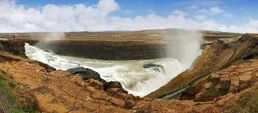 Panorama - Gullfoss waterfall , Iceland Stock Photo